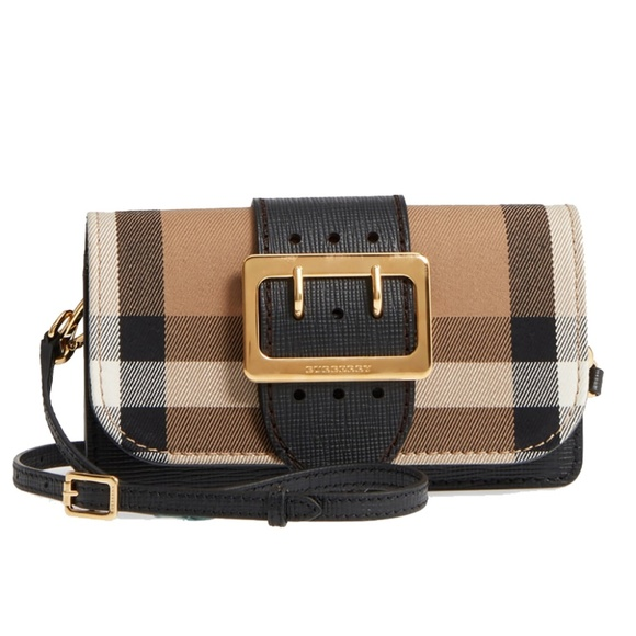 709263c236a6 New Burberry Small Buckle House Check Leather Bag